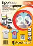 Inkjet T-Shirt Transfer Paper A4 for Light Fabric 20 x Sheets