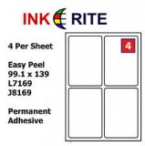 Labels 4 per Sheet